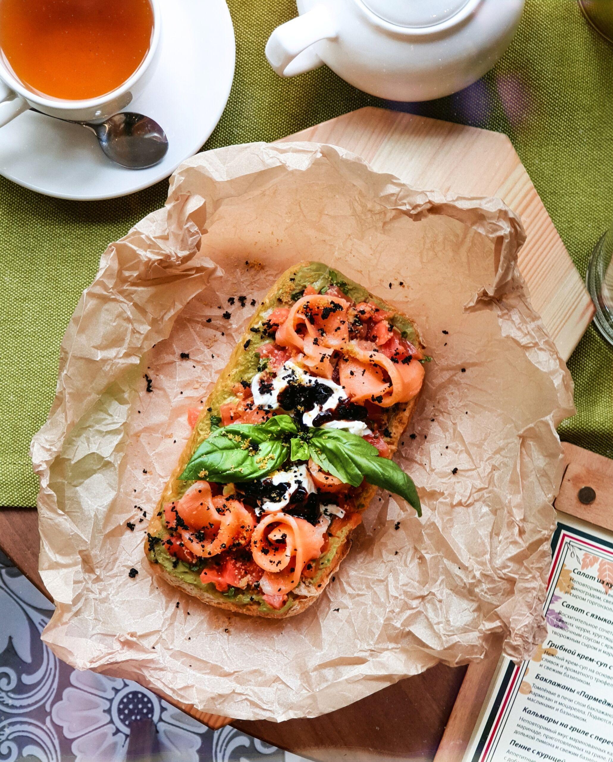 Брускетта с семгой Pinzeria by Bontempi Итальянский ресторан Волгоград пицца заказать