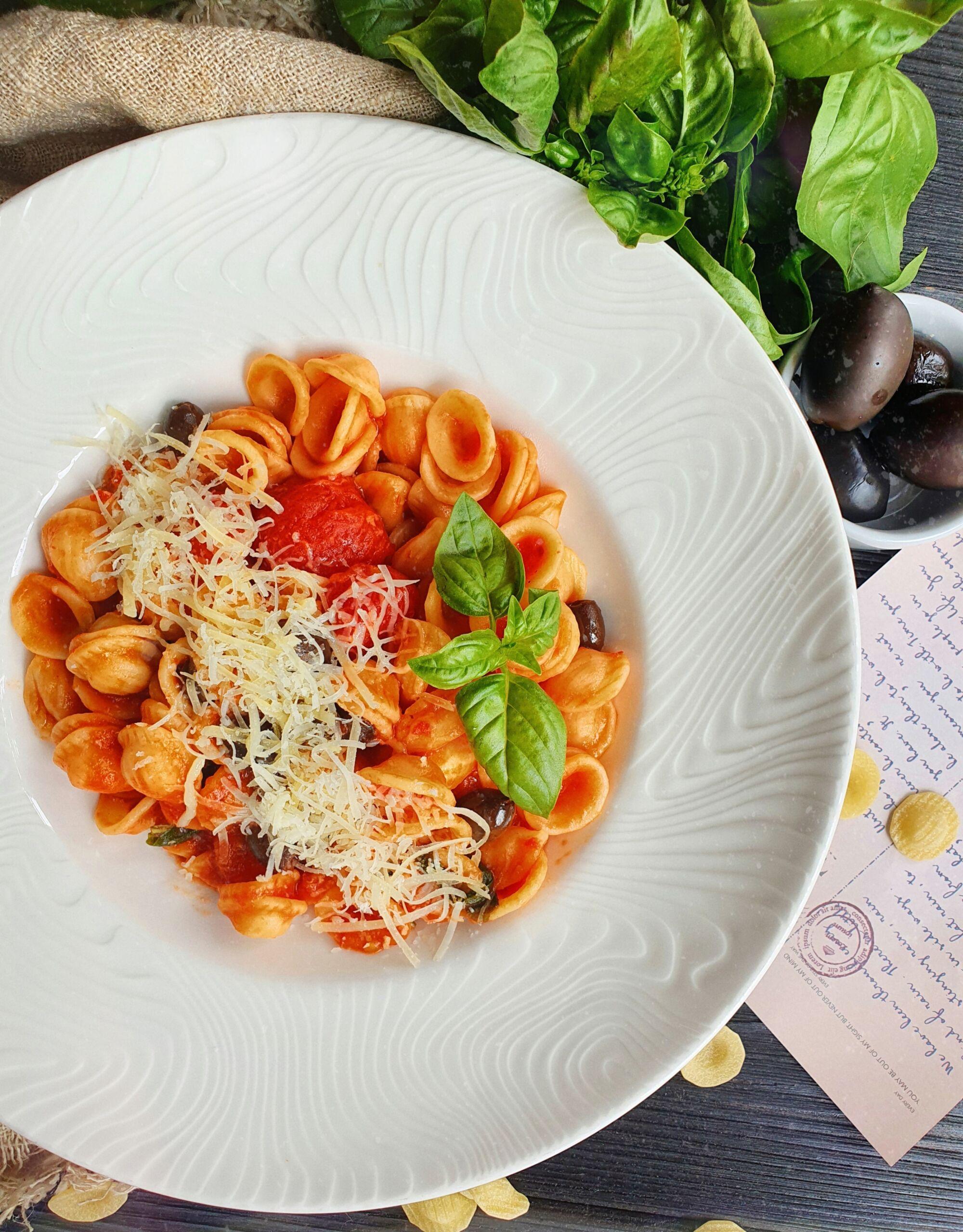 Орекьетте с таджасскими оливками паста Pinzeria by Bontempi Итальянский ресторан Волгоград пицца заказать